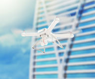 Fuco bianco moderno che si libra in un cielo blu luminoso 3d Fotografia Stock