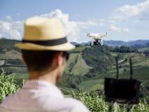 Fuco di Quadcopter per agricoltura Immagini Stock Libere da Diritti