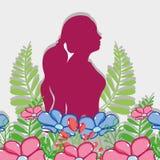 Fucsia-Schattenbildfrau mit Blumendesign lizenzfreie abbildung