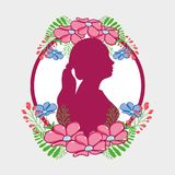 Fucsia Woman Silhouette With Flowers And Leaves Design Royalty Free Stock Photography