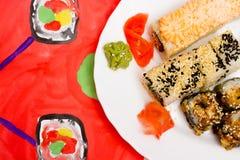 Fud艺术 在一块白色板材的日本寿司 免版税图库摄影