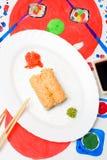 水Fud艺术 在一块白色板材的日本寿司 免版税库存照片