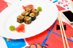 Fud art. Japanese sushi on a white plate Stock Images