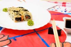 Fud sztuka Japoński suszi na białym talerzu Zdjęcie Royalty Free