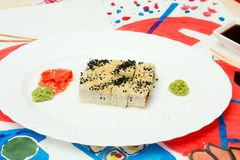 Fud sztuka Japoński suszi na białym talerzu Obraz Royalty Free