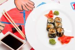 Fud sztuka Japoński suszi na białym talerzu Zdjęcie Stock