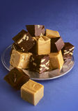 Fudge on blue Royalty Free Stock Photos