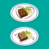 Fudge Brownie on dish with icecream, vector Royalty Free Stock Images