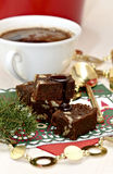 Fudge brownies and coffee Royalty Free Stock Photos