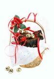 Fudge brownies in gift basket Stock Images