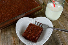 Fudge Brownies Heart Plate Royalty Free Stock Images