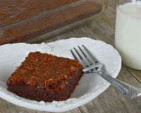 Fudge Brownies With Milk Royalty Free Stock Image
