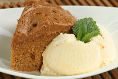 Fudge cake  with ice cream Royalty Free Stock Image