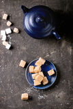 Fudge cand and teapot Royalty Free Stock Photos