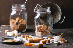 Fudge candy and caramel sause Stock Images