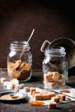 Fudge candy and caramel sause Royalty Free Stock Photography