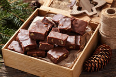Fudge chocolate christmas homemade dessert in Stock Image
