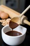 Fudge chocolate spoon Royalty Free Stock Photo