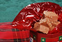 Fudge in a christmas tin Stock Photos