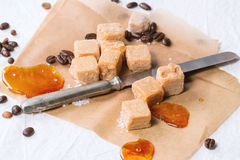 Fudge and coffee beans Royalty Free Stock Images