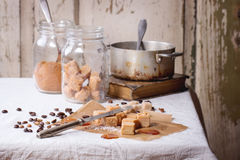 Fudge and coffee beans Royalty Free Stock Photo
