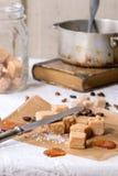 Fudge and coffee beans Stock Photo