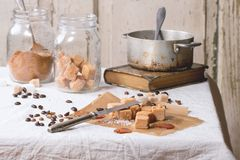 Fudge and coffee beans Stock Image