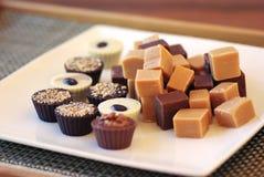 Fudge e bombons de chocolate em uma placa branca Imagens de Stock Royalty Free