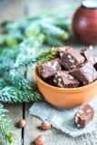 Fudge with hazelnuts Royalty Free Stock Image
