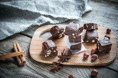 Fudge with hazelnuts Stock Photography