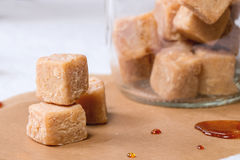 Fudge in jar Stock Photography