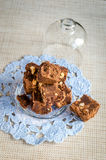 Fudge with walnuts Stock Photo