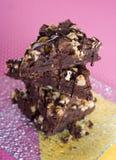 Fudgy и chocolaty пирожные с гайками Стоковая Фотография RF