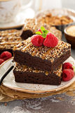 Fudgy brownies with nuts and caramel. Syrup and a cup of coffee Stock Image