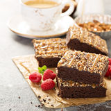 Fudgy brownies with nuts and caramel Royalty Free Stock Photo