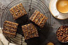 Fudgy brownies with nuts and caramel Royalty Free Stock Photography