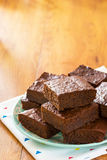 Fudgy Chocolate Brownies with Copy Space Royalty Free Stock Images