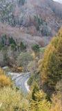Fudo小河和红色桥梁在登上Nakano-Momiji 图库摄影