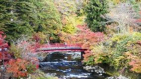 Fudo ström och den röda bron på monteringen Nakano-Momiji Arkivbilder