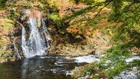 Fudo stream and the red bridge at Mount Nakano-Momiji Stock Photo