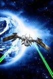 Fuego abierto del combatiente de la nave espacial ilustración del vector
