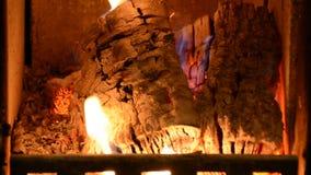 Fuego acogedor caliente en una chimenea casera Burning de madera real en una chimenea del ladrillo almacen de metraje de vídeo