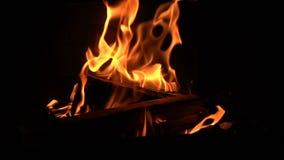 Fuego ardiente acogedor caliente en la chimenea almacen de metraje de vídeo