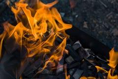 Fuego ardiente del primer en la parrilla imagen de archivo