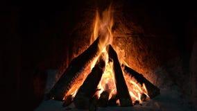 Fuego ardiente en la chimenea Madera y ascuas en el fondo detallado del fuego de la chimenea Un fuego quema en una chimenea almacen de video