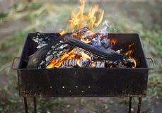 Fuego ardiente para una barbacoa al aire libre Imágenes de archivo libres de regalías