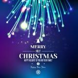 Fuego artificial abstracto de Navidad en el fondo azul del espacio ilustración del vector