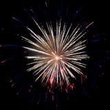 fuego artificial Amarillo-azul Imagenes de archivo