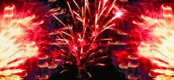 Fuego artificial amarillo rojo del día de fiesta Imágenes de archivo libres de regalías