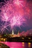Fuego artificial cerca de Moscú Kremlin Imagen de archivo libre de regalías